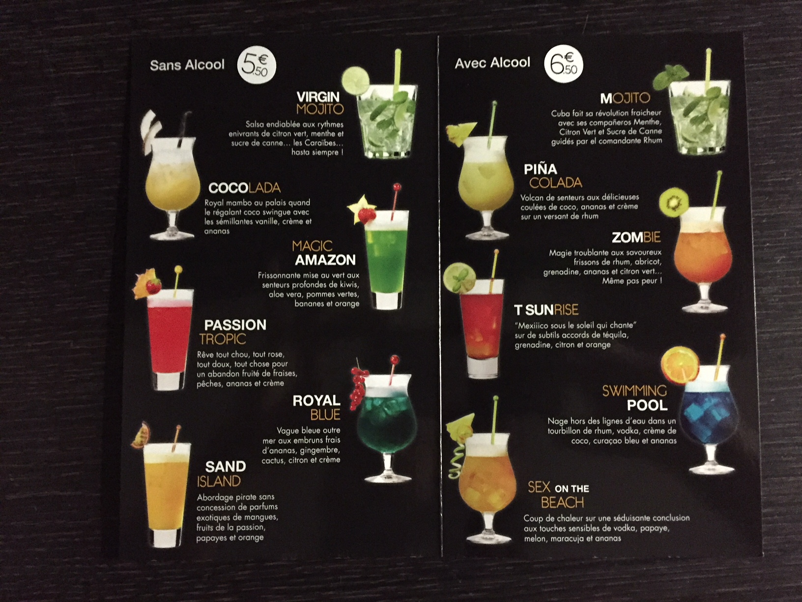 carte des cocktails 2018